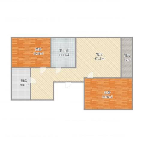 玉函新南区2室1厅1卫1厨160.00㎡户型图