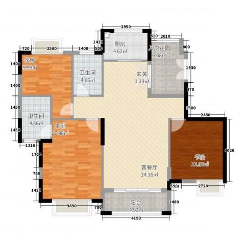 银湖山庄3室1厅2卫1厨141.00㎡户型图