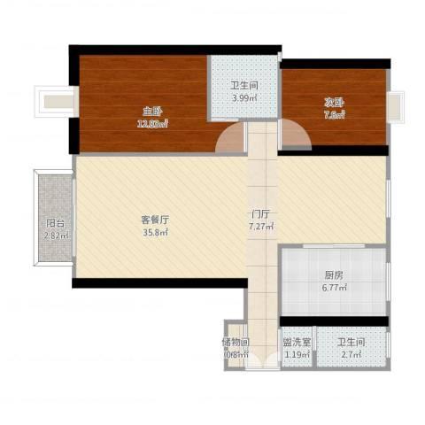 欣松苑2室2厅2卫1厨104.00㎡户型图