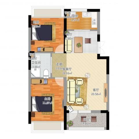 抚顺澳海澜庭2室1厅3卫1厨90.00㎡户型图