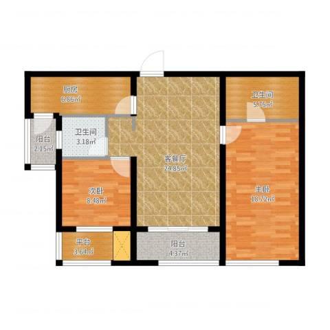 万象上东2室1厅2卫1厨112.00㎡户型图