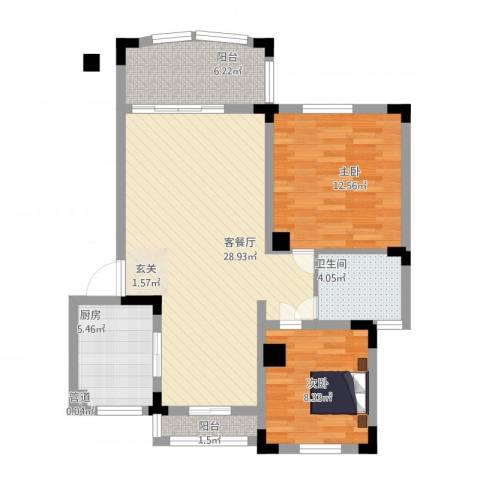 奇瑞龙湖湾2室1厅1卫1厨98.00㎡户型图
