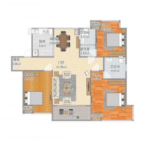 张家港中凯城市之光2室1厅2卫1厨133.00㎡户型图