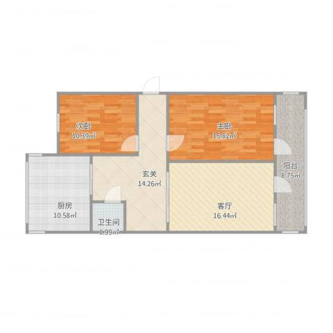 六里山南路宿舍2室1厅1卫1厨105.00㎡户型图