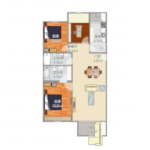 龙跃苑东四区3室1厅2卫1厨129.00㎡户型图