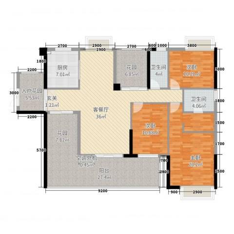 诚丰怡园3室1厅2卫1厨186.00㎡户型图