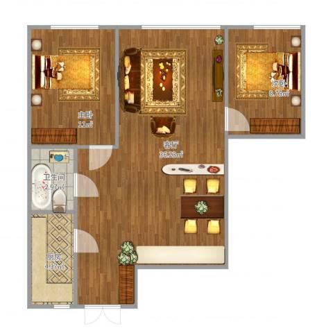 绿洲春城2室1厅1卫1厨84.00㎡户型图