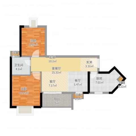 金碧领秀国际2室1厅2卫3厨73.00㎡户型图