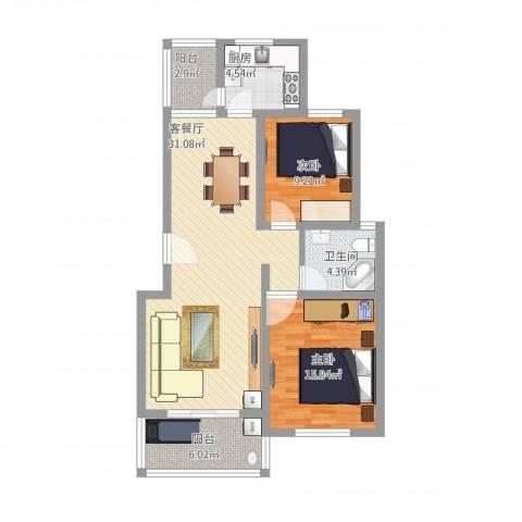 陆宇中央郡2室1厅1卫1厨83.91㎡户型图