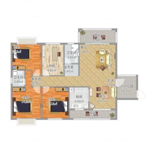德雅园4室1厅2卫1厨167.00㎡户型图