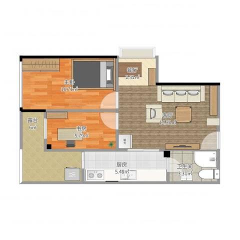 富力新居2室1厅1卫1厨66.00㎡户型图