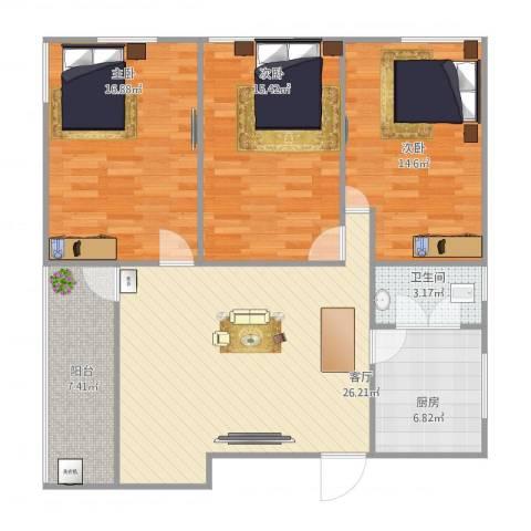 罗村外滩中区14号4023室1厅1卫1厨121.00㎡户型图