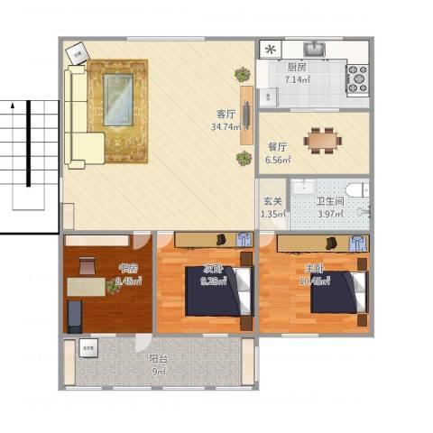 长青花园3室2厅1卫1厨122.00㎡户型图