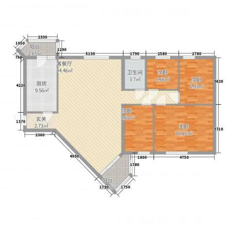江兆豪庭4室1厅1卫1厨136.00㎡户型图