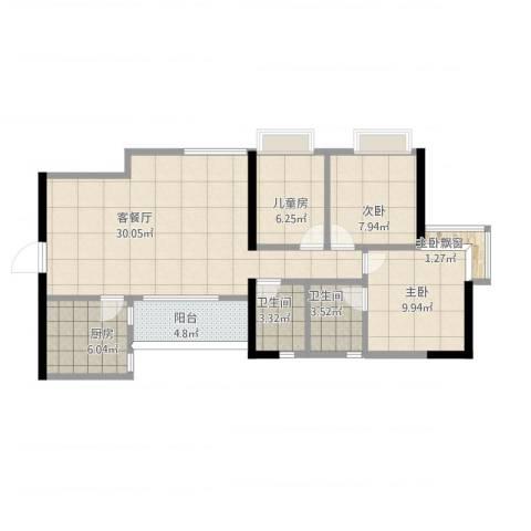 兴业新村桂花苑3室1厅3卫1厨105.00㎡户型图