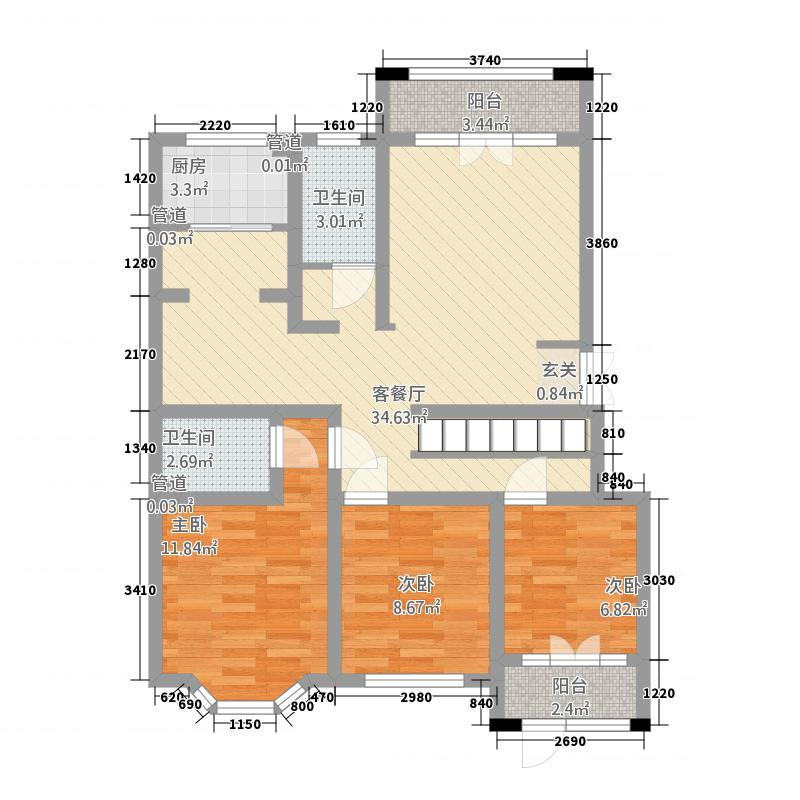 容郡山语湖115.20㎡山语湖1-d户型3室2厅2卫1厨