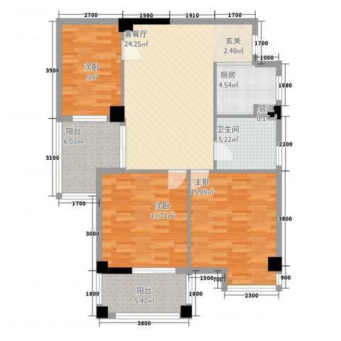 富安・森活印象3室1厅1卫1厨118.00㎡户型图