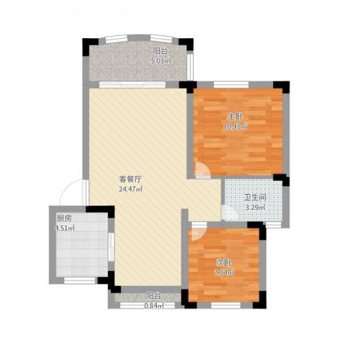 奇瑞龙湖湾2室1厅1卫1厨81.00㎡户型图