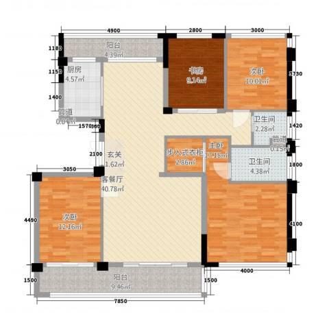 华鸿・温州大公馆4室1厅2卫1厨13136.00㎡户型图