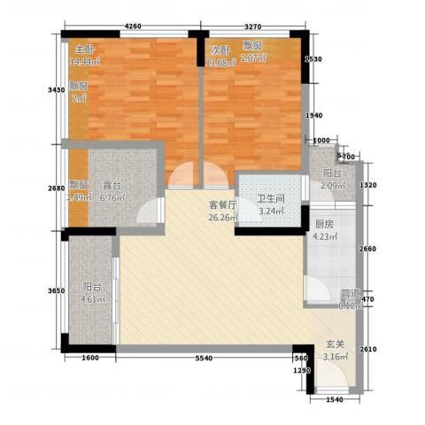 涪江印象山千院2室1厅1卫1厨74.84㎡户型图