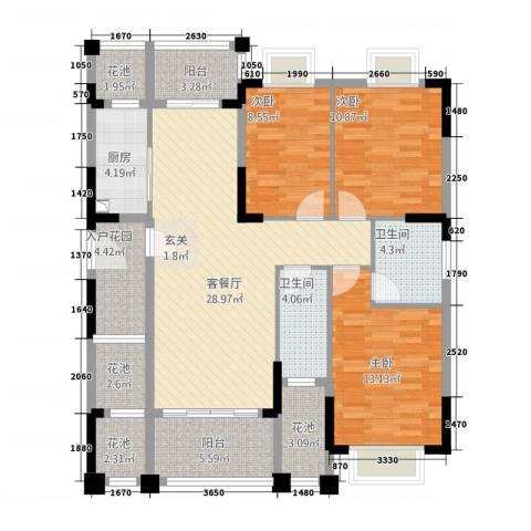 东方蓝城一号3室1厅2卫1厨113.28㎡户型图