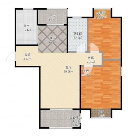金光大道二期文昌花园2室1厅1卫1厨110.00㎡户型图