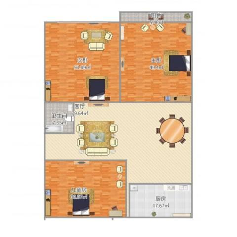 普照园小区3室1厅1卫1厨328.00㎡户型图