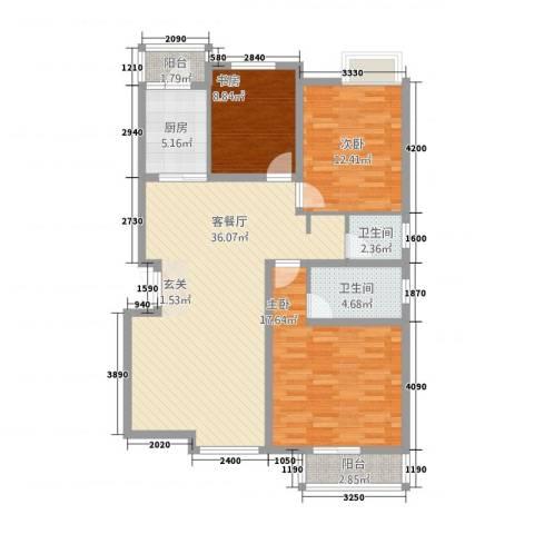 东城国际3室1厅2卫1厨1133.00㎡户型图