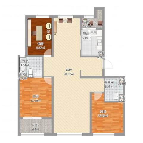 阳光花城别墅3室1厅2卫1厨133.00㎡户型图
