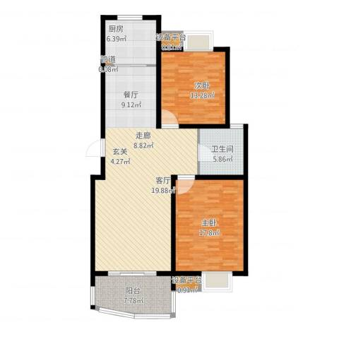 嘉宝都市港湾城2室1厅1卫1厨134.00㎡户型图