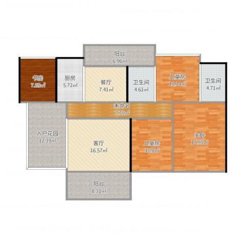 惠东侨城水岸4室2厅2卫1厨164.00㎡户型图