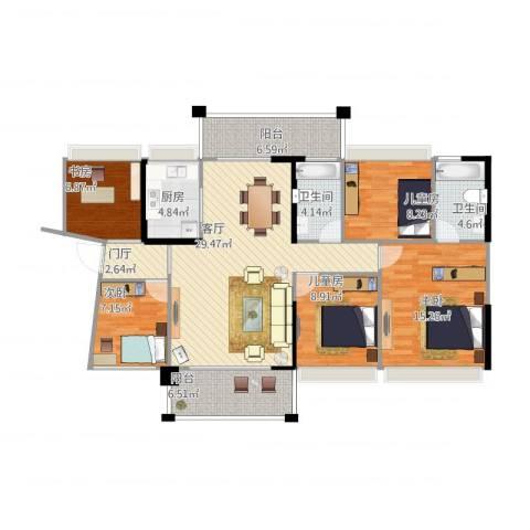 侨城水岸5室1厅2卫1厨144.00㎡户型图