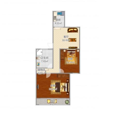 祁连三村2室1厅1卫1厨91.00㎡户型图