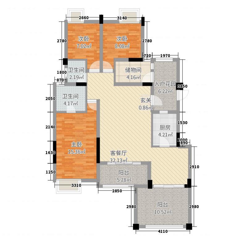欧景新天地143.25㎡一期花园洋房二层12F户型2室2厅2卫1厨