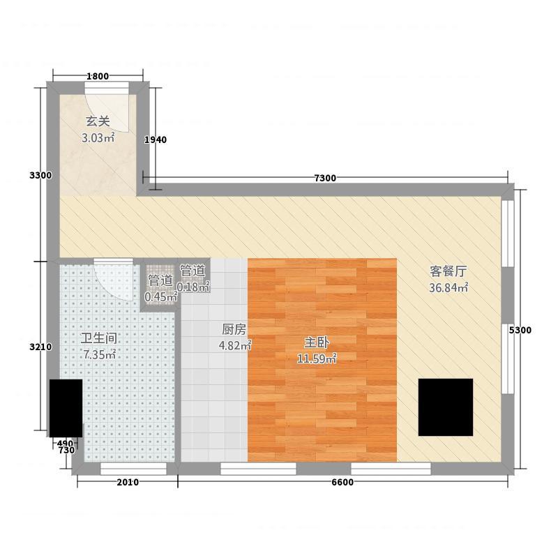 金宇・新天地67.14㎡F座公寓A户型