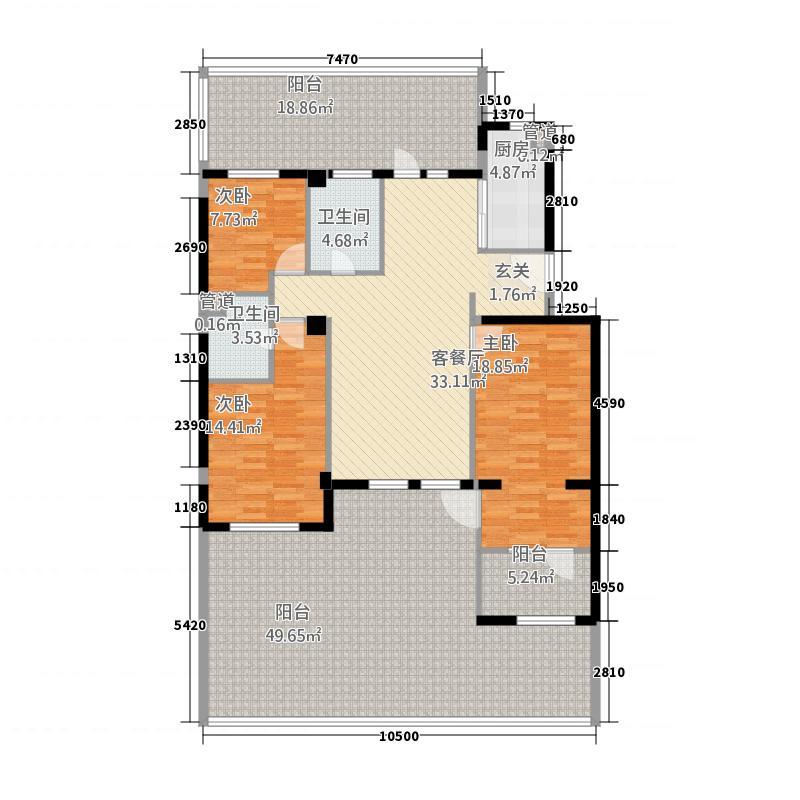 万科璞悦湾113.20㎡1层户型3室2厅2卫1厨