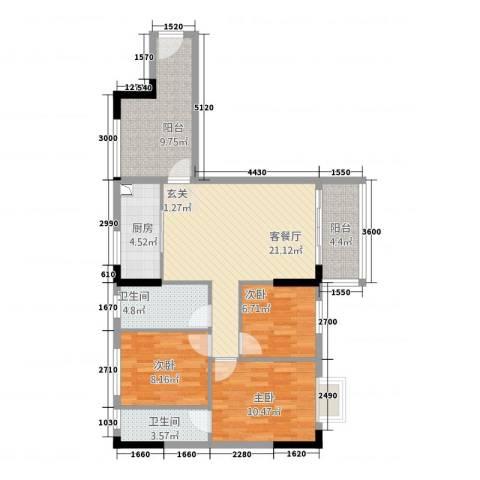 智富华轩3室1厅2卫1厨89.00㎡户型图