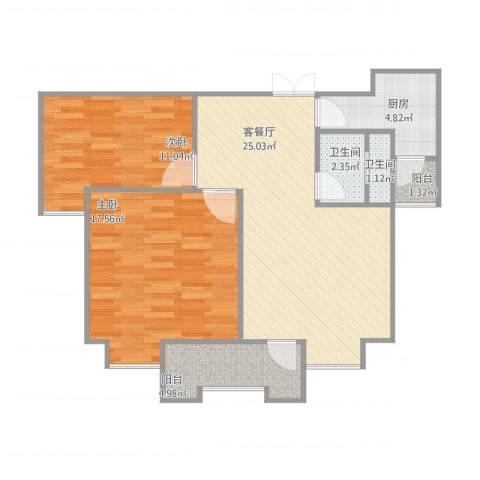 紫金领秀二期2室1厅2卫1厨93.00㎡户型图