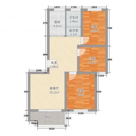 万德新城・春暖花开3室2厅1卫1厨64.61㎡户型图