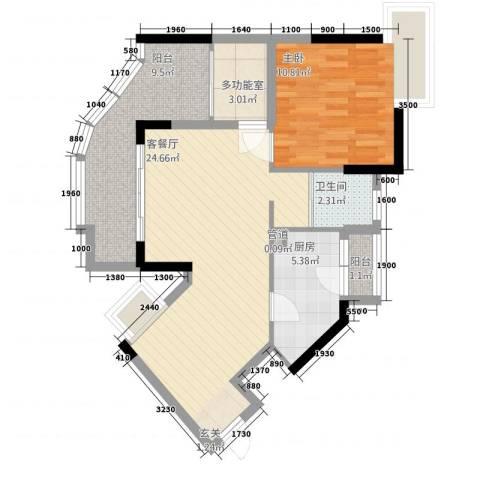 沙田东港城二期1室1厅1卫1厨70.00㎡户型图