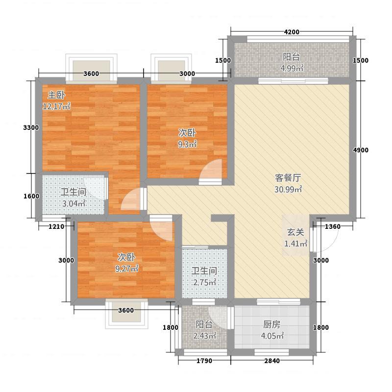 印象森林8.40㎡C标准层户型3室2厅2卫1厨