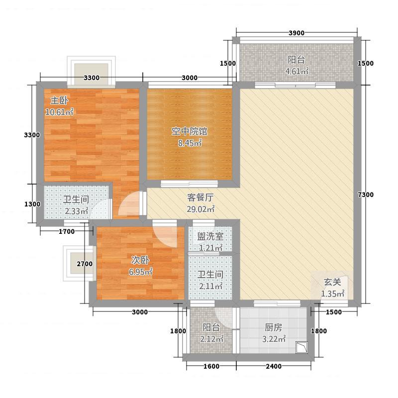 印象森林8.34㎡A户型2室2厅2卫1厨