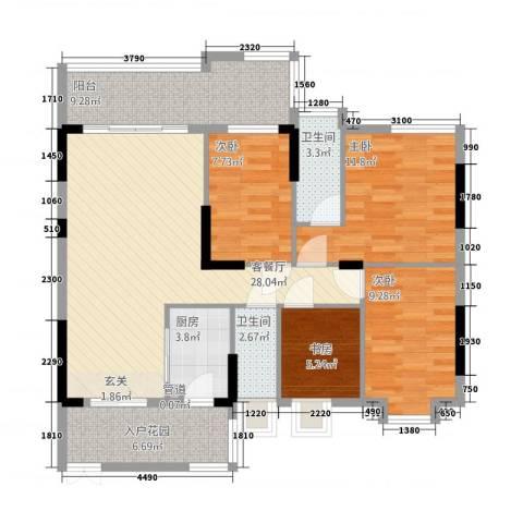 大唐盛世三期4室1厅2卫1厨126.00㎡户型图