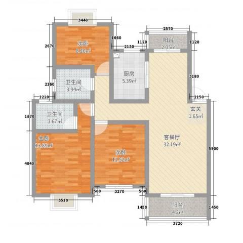 东湖塘教师家舍3室1厅2卫1厨124.00㎡户型图