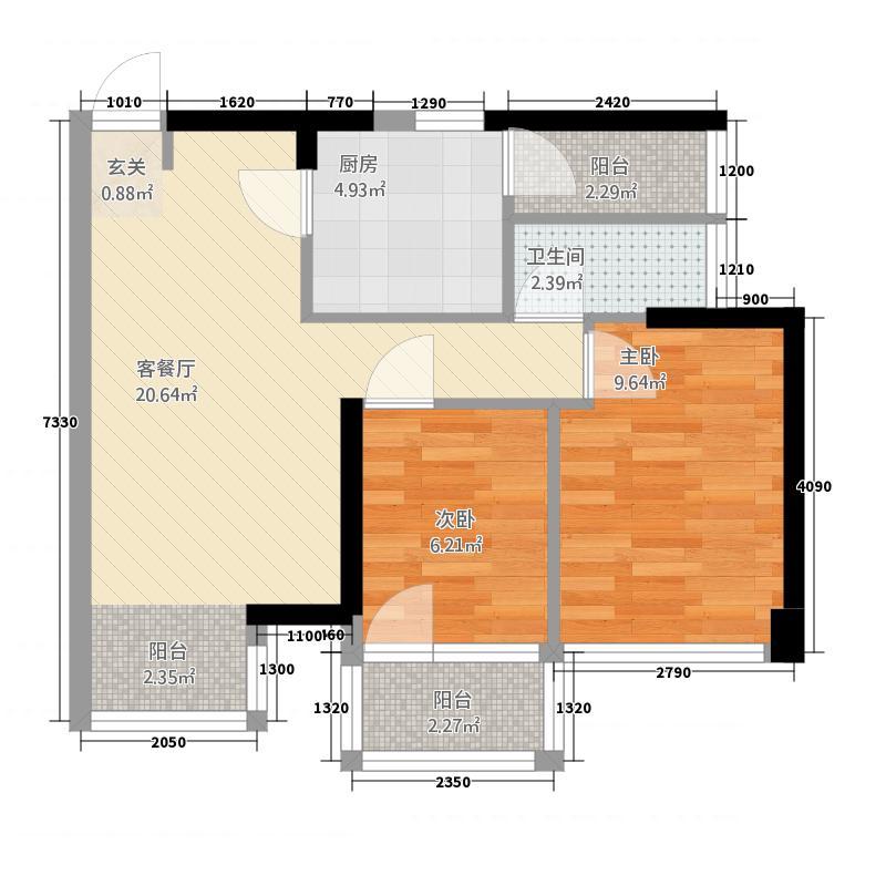 米兰寓所户型1室1厅1卫1厨