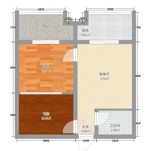 东方今典中央城2室1厅1卫1厨67.00㎡户型图