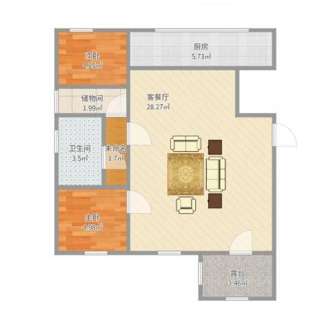 宏发三千院2室1厅1卫1厨73.00㎡户型图