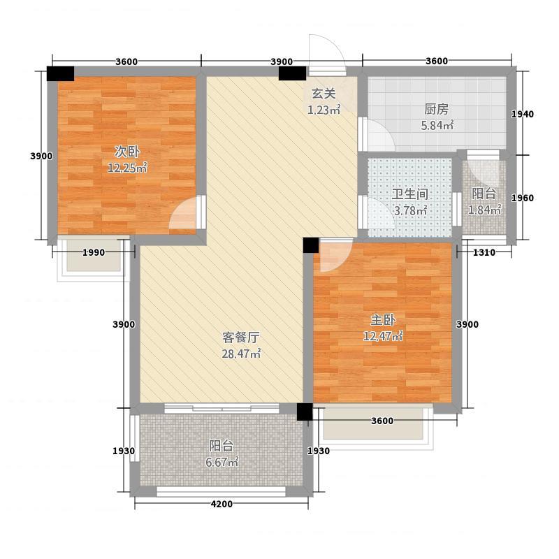 东方今典中央城8.72㎡二期C02户型2室2厅1卫1厨