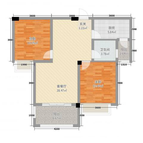 东方今典中央城2室1厅1卫1厨71.31㎡户型图