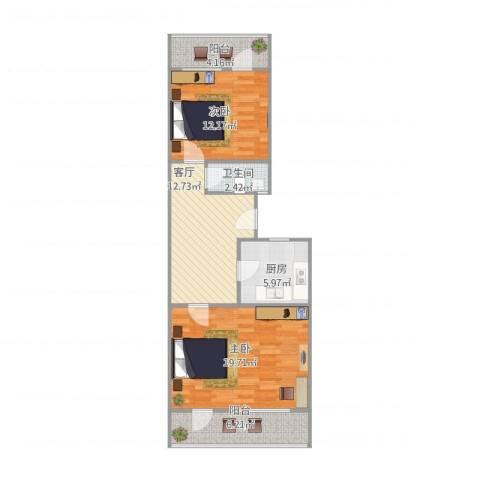 柳行小区2室1厅1卫1厨86.00㎡户型图
